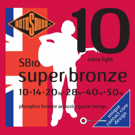 SB10 Super Bronze Phosphor Bronze Acoustic Guitar Strings 10-50 Extra Light